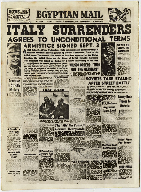 RARE UNUSUAL SNAP of EGYPTIAN MAIL NEWSPAPER FRONT PAGE ITALY SURRENDERS WWII