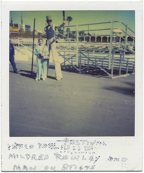 MILDRED ROWLEY and the MAN on STILTS STRANGE UNUSUAL POLAROID