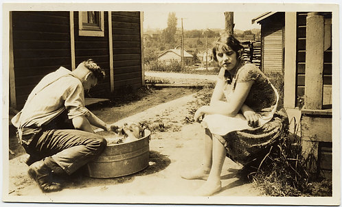 FABULOUS PATIENT WOMAN WAITS while HUNKY HUSBAND BATHES PET DOG in METAL WASHTUB