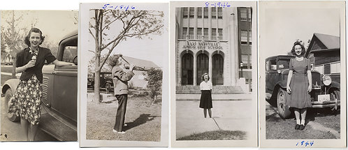 LOVELY WOMAN in FOUR PICS EATING ICE CREAM PLAYING TRUMPET JUNIOR HIGH etc. 1944