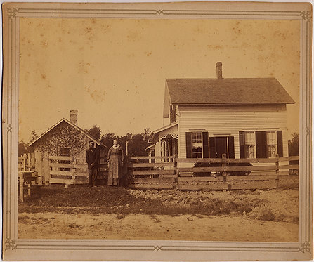 BOUDOIR! ODD COUPLE in front of OLD CLAPBOARD HOMESTEAD HOUSE ALBUMEN LARGE CARD