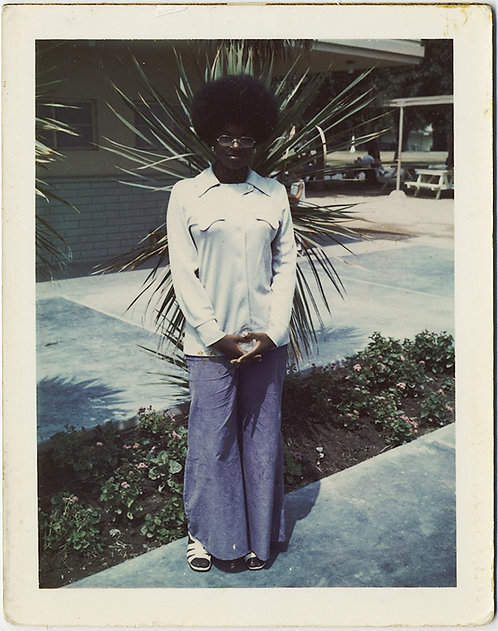 AFRICAN-AMERICAN/BLACK WOMAN with AFRO and GLASSES!  Great POLAROID portrait