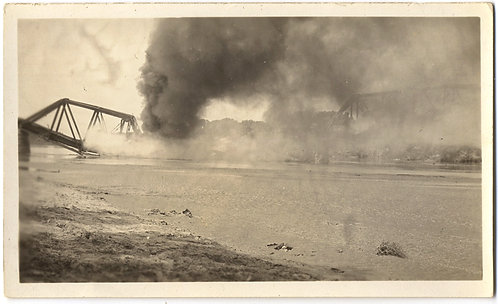 STUNNING WAR BOMBED DESTROYED BRIDGE on FIRE