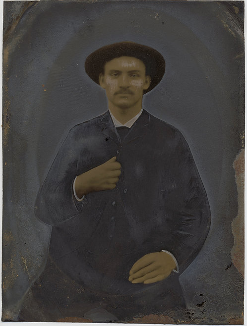 Painted Full Plate Tintype: Dignified Man with Hat
