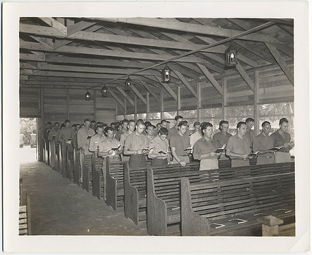 US SOLDIERS PRAY in CHURCH SERVICE in CHAPEL on ADVANCED BASE 1945