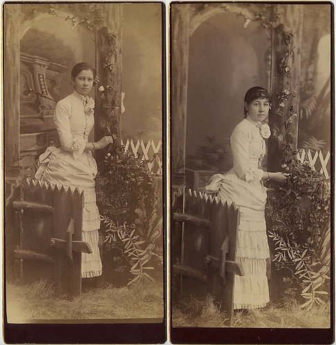 2 SUPERB BOUDOIR CARDS: ELABORATE STUDIO PORTRAIT of LOVELY WOMEN Saul Center MN