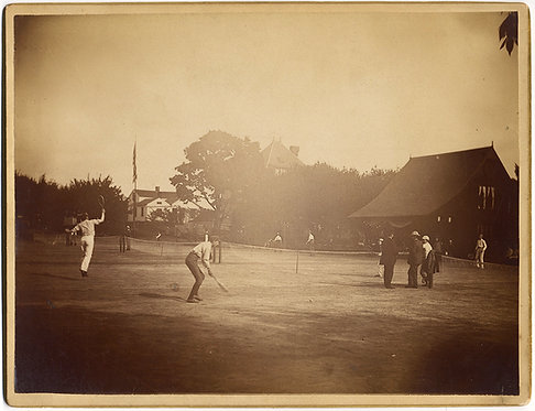 SUPERB BOUDOIR CARD TENNIS PLAYERS on CLAY GRASS SUN DRENCHED COURTS CLUBHOUSE!