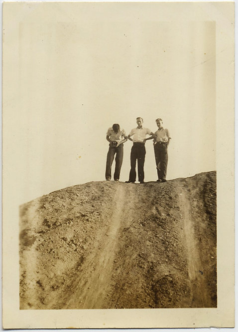 LOVELY GRAPHIC & STARK THREE MEN on MOUND BENT OVER CAMERA