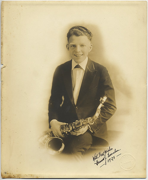 LOVELY LARGE PR pic YOUNG KID SAXOPHONE PLAYER Frank Donahue 1921 SIGNED