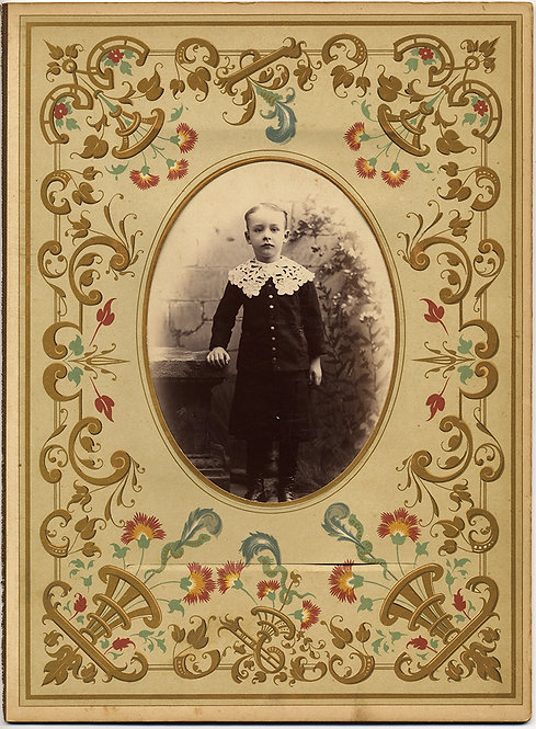 SUPERBLY DECORATED VICTORIAN PHOTO ALBUM PAGE w ADORABLE LITTLE BOY LACE COLLAR