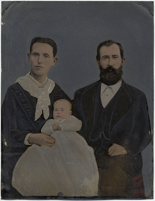 Painted Full Plate Tintype: EXTRAORDINARY FAMILY PORTRAIT