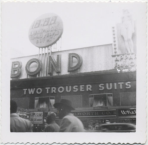 BOND TWO TROUSER SUITS VINTAGE STOREFRONT SIGNAGE Woolworths etc.