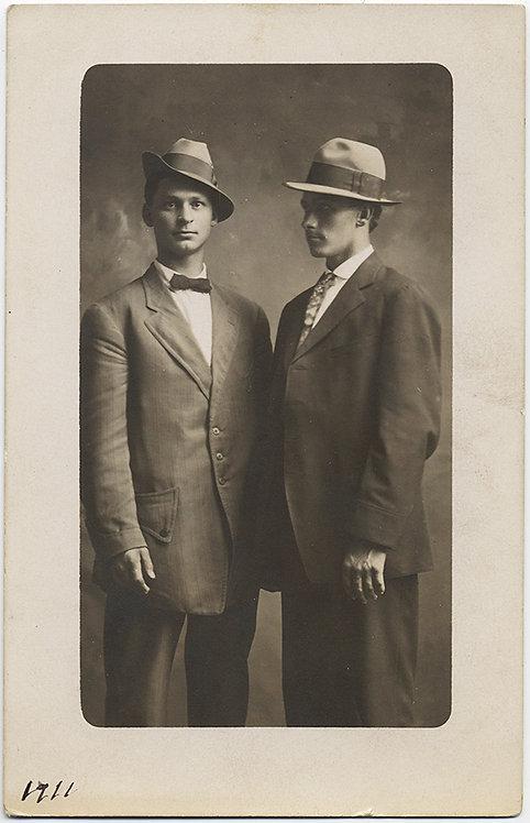 STUNNING ALMOST NOIR MEN in HATS & GREAT POSE RPPC 1911