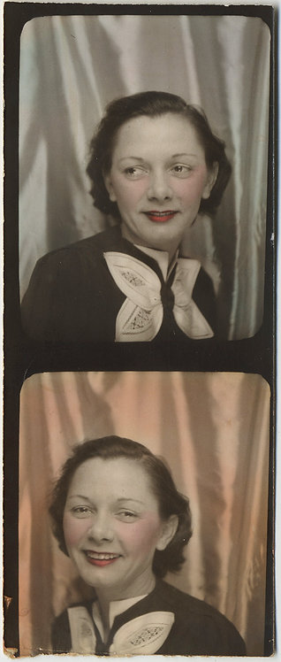 LOVELY TINTED PHOTOBOOTH PARTIAL STRIP WOMAN w LARGE ELEGANT BOW on BLOUSE