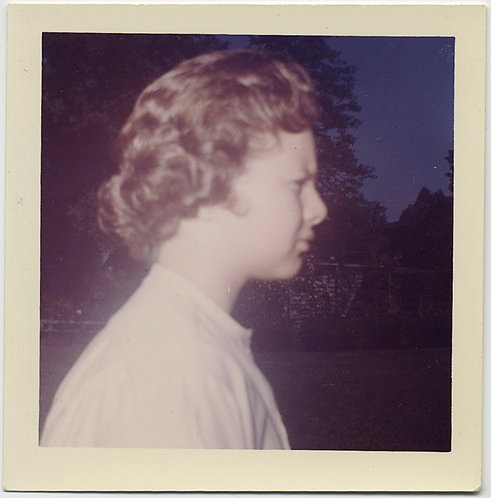 STUNNING PROFILE PORTRAIT of BLONDE TEEN BLONDE CURLS NIGHT BACKDROP