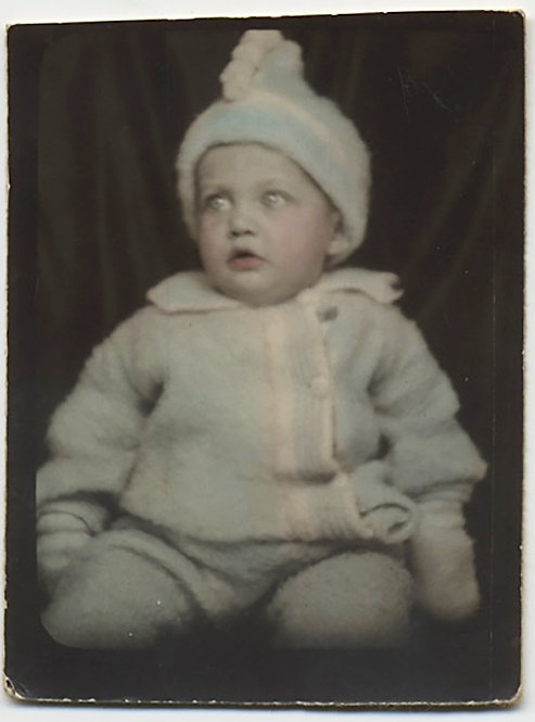 NICE HAND TINTED PHOTOBOOTH BABY in LOVELY KNITTED WOOLEN COLORED OUTFIT