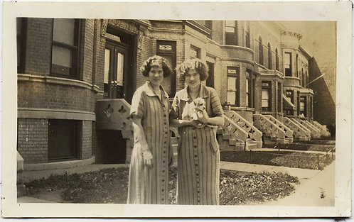 SISTERS in IDENTICAL DRESSES w ADORABLE PUPPY in front of ROW HOUSES LOVELY