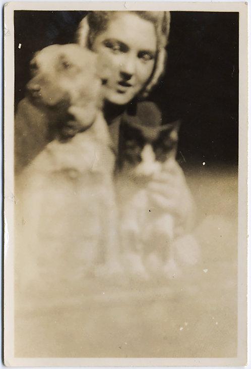 BLURRY IMPRESSIONISTIC WOMAN w PET DOG & CAT LOVER FOGGED PRINT!