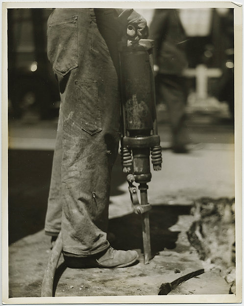 PRESS PHOTO SUPERB INDUSTRIAL MAN'S LEGS w JACKHAMMER BUILDS NYC 6th AVE SUBWAY