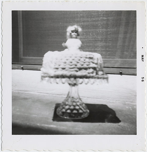 OUT of FOCUS IMPRESSIONISTIC DOLL CAKE  on CAKE STAND 1956