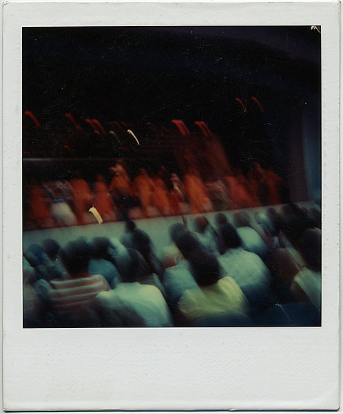 BLUE GREEN RED POLAROID of AUDIENCE and PERFORMERS in BLURRY GRAPHIC COLOR