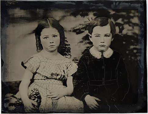 SUPERB PAINTED FULL PLATE TINTYPE SERIOUS SAD SULLEN CHILDREN LACE COLLAR