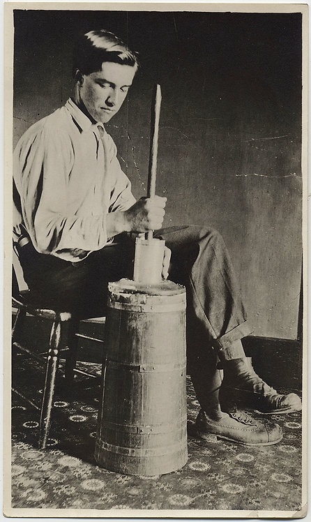BOY BATTERS BUTTER YOUNG MAN w BUTTER CHURN in STUDIO PIC