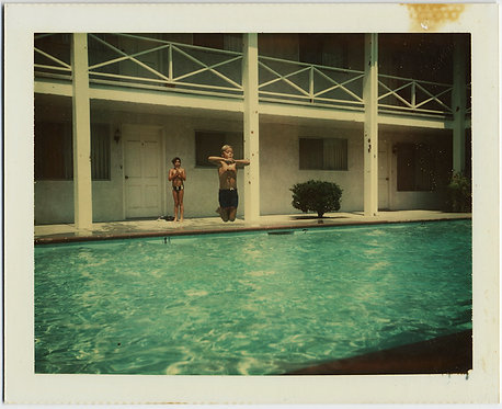 """GREAT POLAROID Jerry does """"CANNON BALL"""" JUMP into POOL SUSPENDED MID-AIR COLOR!"""