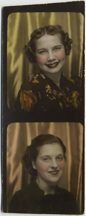TWO LOVELY HAND TINTED WOMEN BROAD SMILES RED CHEEKS SATIN BACKDROP PHOTOBOOTH