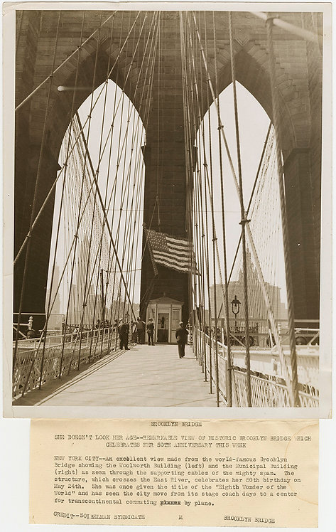 PRESS PHOTO WONDERFUL BROOKLYN BRIDGE 50th ANNIVERSARY pic WOOLWORTH BLDG BEYOND