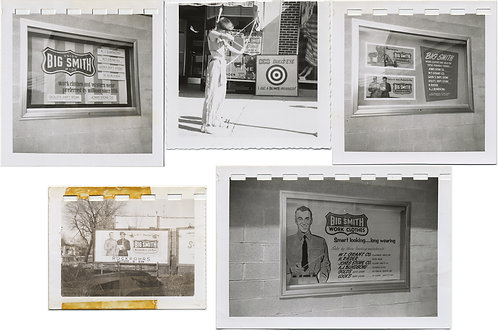 SMALL ARCHIVE of BIG SMITH WORK CLOTHES DISPLAY ADS BOY SHOOTS ARROW at TARGET