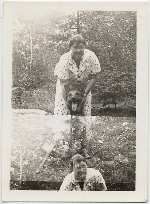 SUPERB DOUBLE EXPOSURE WOMAN  w PET DOG GERMAN SHEPARD ALSATION