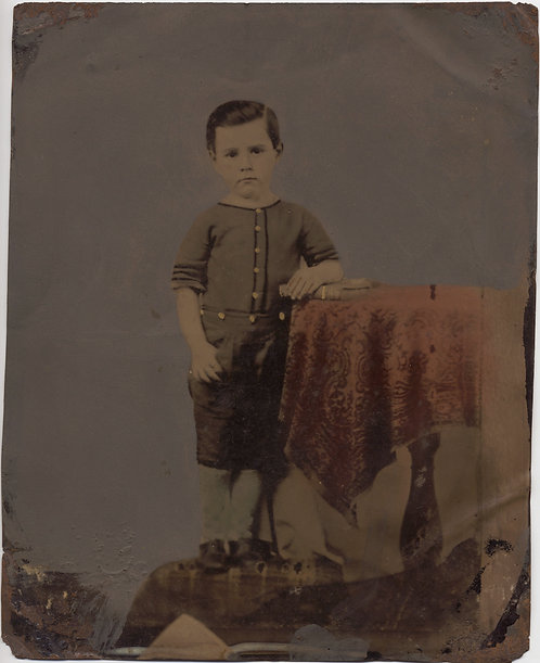 Full Plate Painted Tintype: Boy at Table