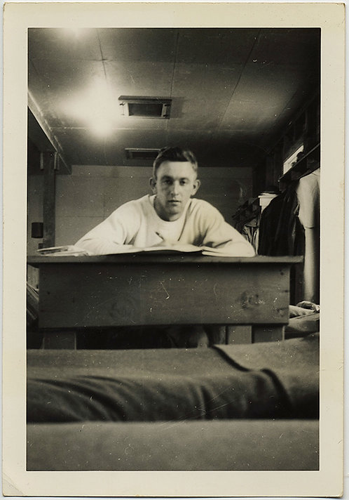 HANDSOME MILITARY STUD SOLDIER WRITES LETTER HOME SNAPPED from BARRACKS BED
