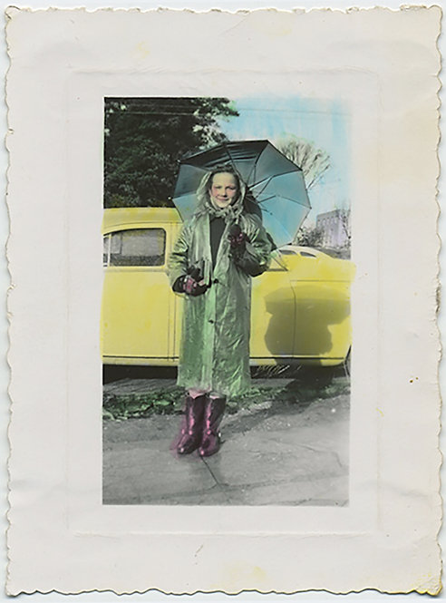 GORGEOUS HAND TINTED WOMAN in BOOTS RAINCOAT UNBRELLA YELLOW CAR