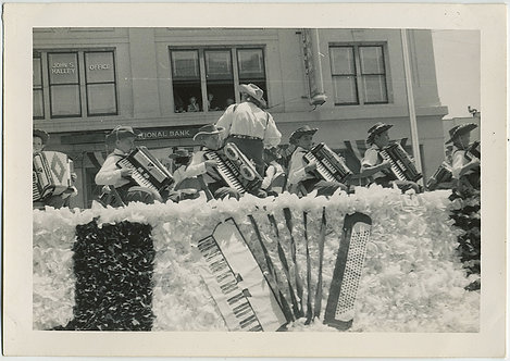STRANGE PARADE FLOAT and ORCHESTRA of KID CHILD BOY ACCORDION PLAYERS WEIRD