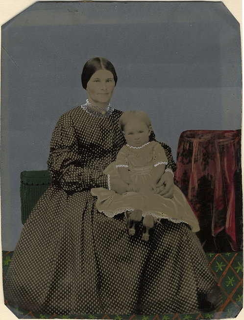 Painted Full Plate Tintype: Mother and Child