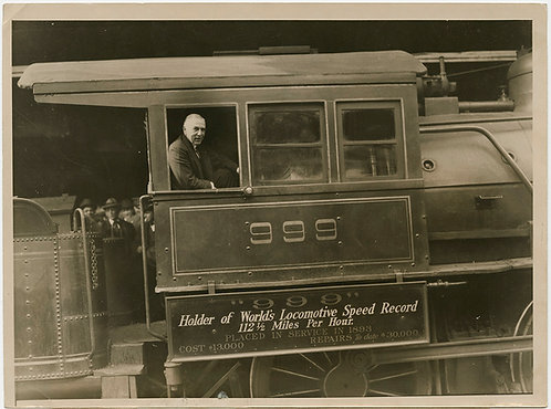 PRESS PHOTO RAILROADIANA WORLD'S FASTEST LOCOMOTIVE 999 VINTAGE TRAIN HISTORIC