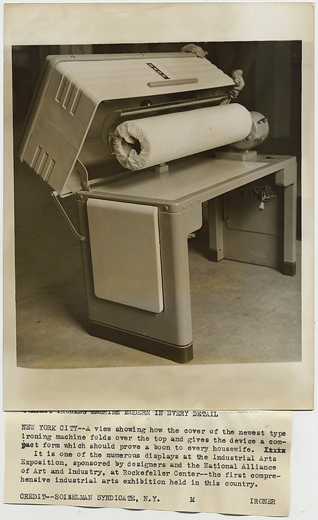 "PRESS PHOTO HUGE SEWING MACHINE ""boon to HOUSEWIVES"" INDUSTRIAL ARTS EXPO DESIGN"