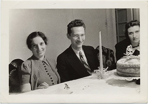 DORKY MAN & SMILING WOMAN FIXATE on TAPER CANDLE in BIRTHDAY CAKE CELEBRATION