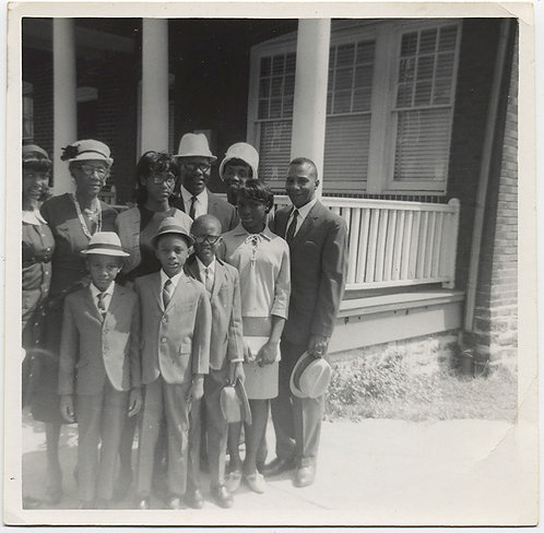 OFF CENTER FRAMING of BLACK FAMILY GROUP off to CHURCH in SUNDAY BEST