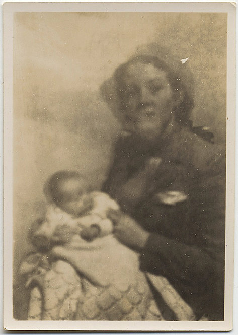 LOVELY IMPRESSIONISTIC DOUBLE EXPOSURE MOTHER and INFANT