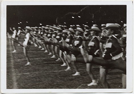 GOOSE STEPPING CHEERLEADERS HIGH KICK in CHORUS LINE FORMATION ACTION BLUR