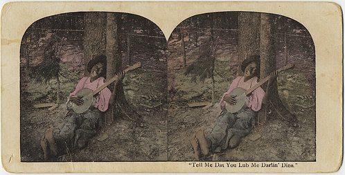 RACIST TROPE STEREOVIEW YOUNG BLACK MAN PLAYING BANJO