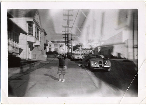 WEIRD WOMAN HOLDS DOLL ALOFT in DOUBLE EXPOSURE EXPRESSIONIST STREET SCENE