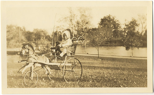 SUPERB LITTLE BOY in AWESOME TOY HORSE DRAWN BABY CARRAIAGE IDd William Moeller
