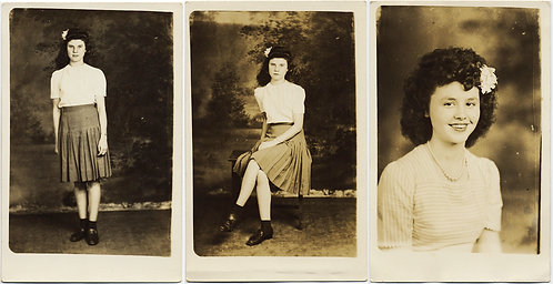 3 WONDERFUL RPPCs YOUNG WOMAN FLOWER in HAIR STUDIO PORTRAIT PAINTED BACKDROP