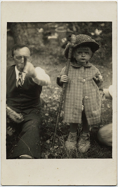 RPPC MAN POINTS at CAMERA YOUNG ADORBALE CUTE CHILD w WALKING STICK HAT UNUSUAL