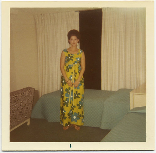 """Me in hotel room"" 60's WOMAN in MARIMEKKO-INSPIRED DRESS MID CENTURY INTERIOR"