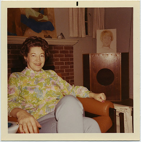 70s WOMAN in FLORAL PRINT WATCHED OVER by PORTRAIT & HI FI SPEAKER!